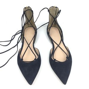 J. Crew navy suede lace up flats ghillie leather